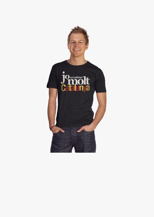 Camiseta hombre Jo m'estimo molt Catalunya color negro