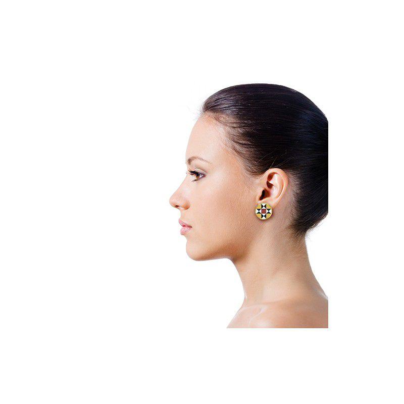RajQQ modernist tiles round button earrings