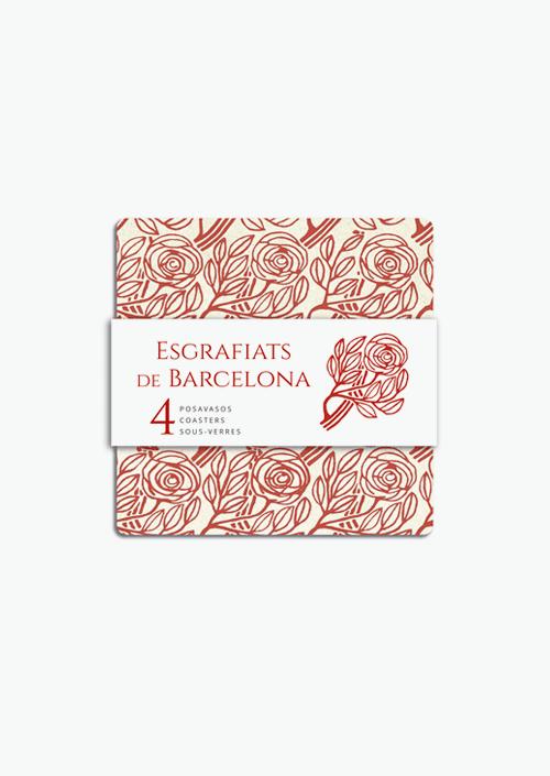 4 Posavasos Rosas del Born