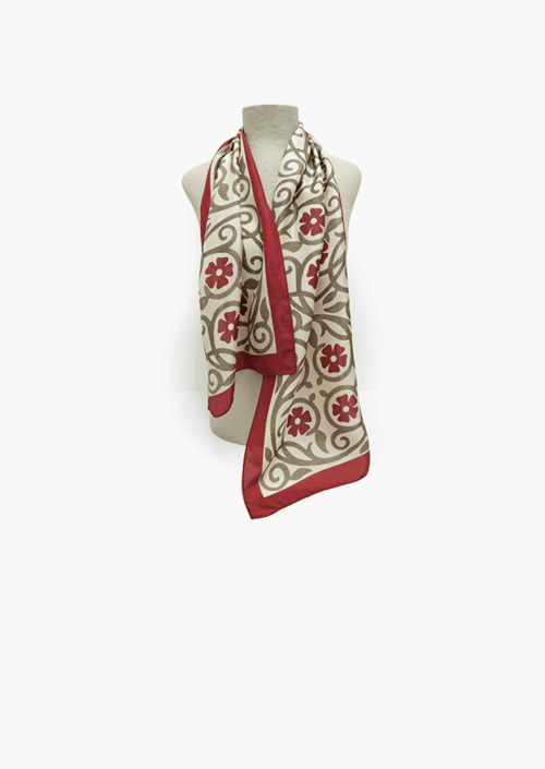 Red Flower Silk Scarf