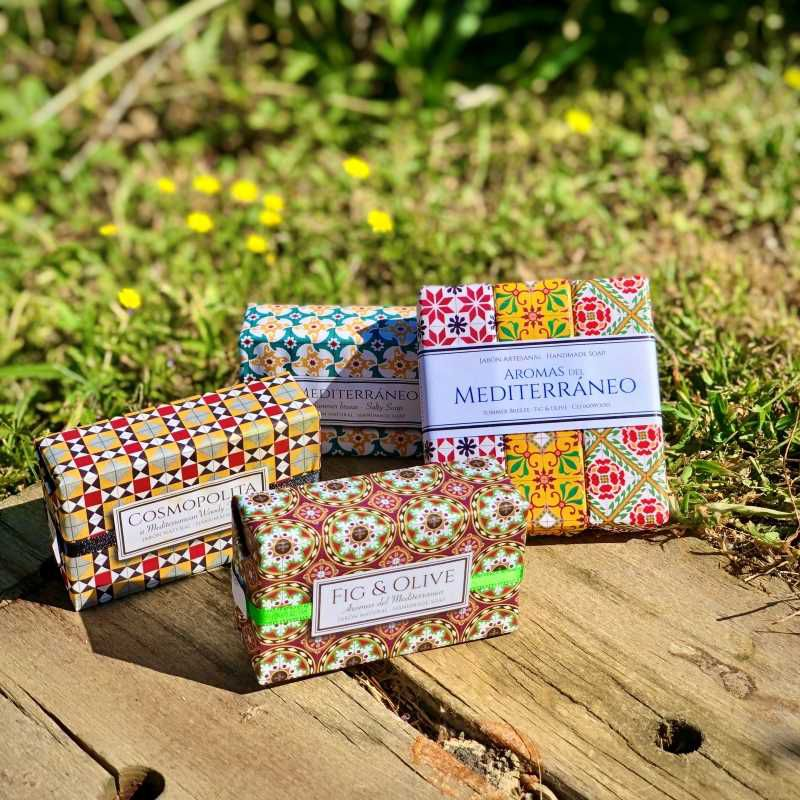 Collection of handmade soaps from the Modernist Tiles collection