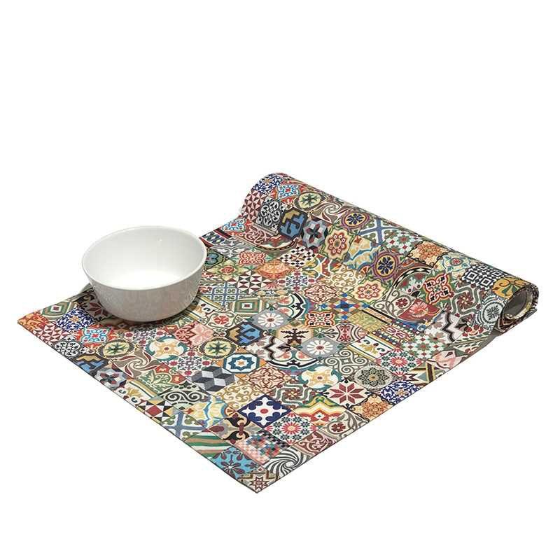 Camino de mesa de tela de algodón de la colección Baldosas Modernistas