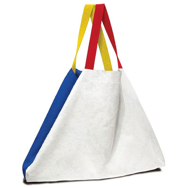 Bolsa de gran tamaño en colores blanco y azul con asas rojas y amarillas