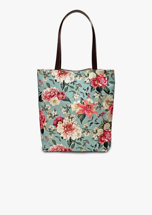 Bolso estilo tote bag con diseño floral y vintage