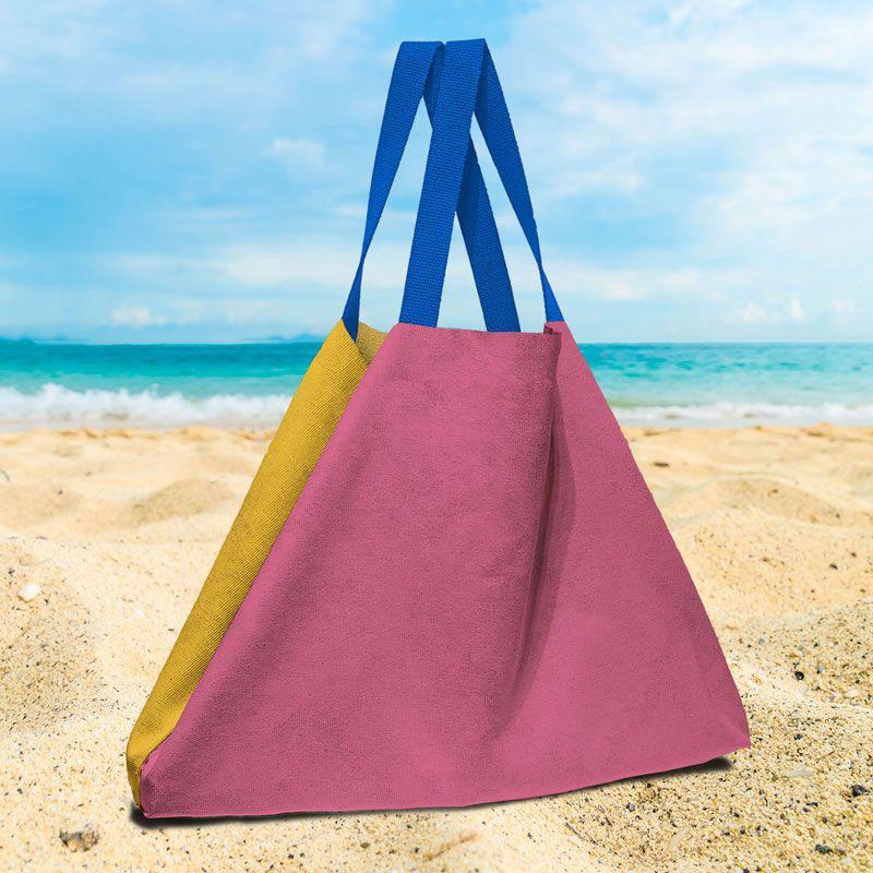 Bolsa de playa color fucsiay mostaza, tela 100% de algodón