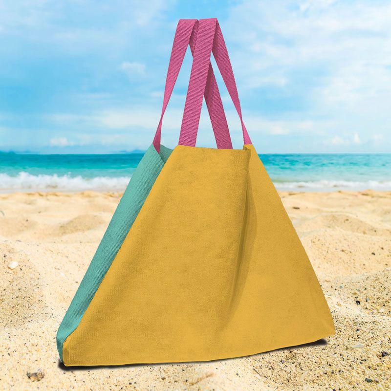 Green and mustard beach bag, 100% cotton fabric