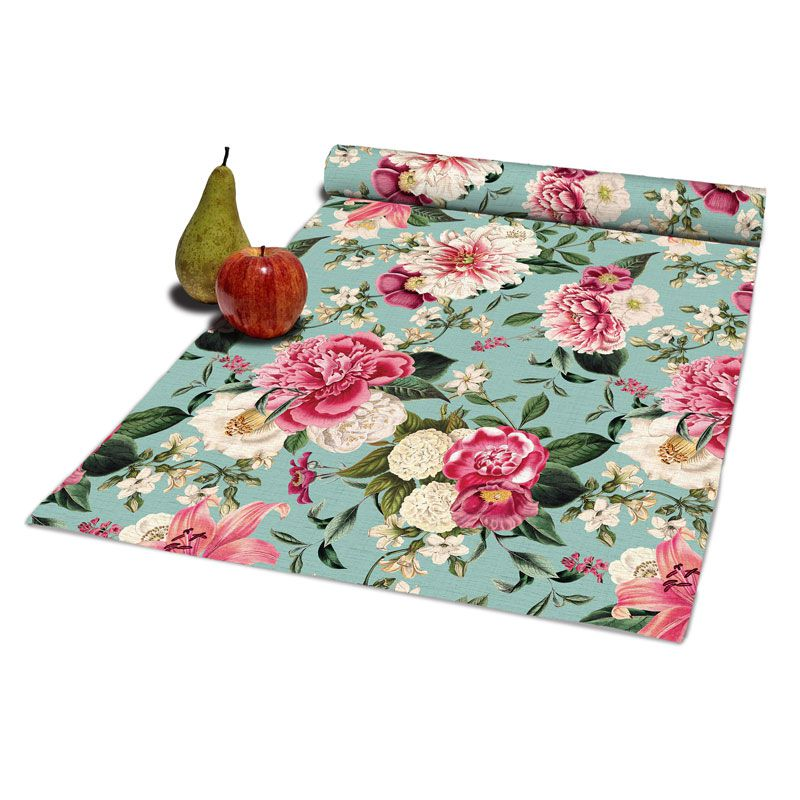 Colorful table runner, 100% cotton fabric, floral print
