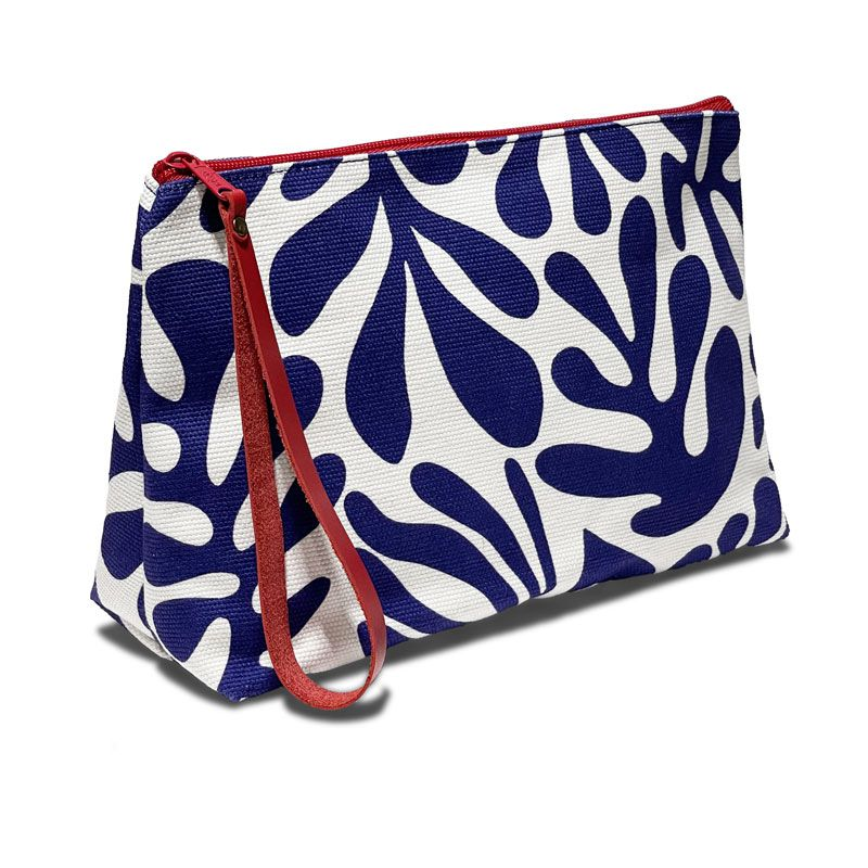 Practical toiletry case in cobalt blue and white colors