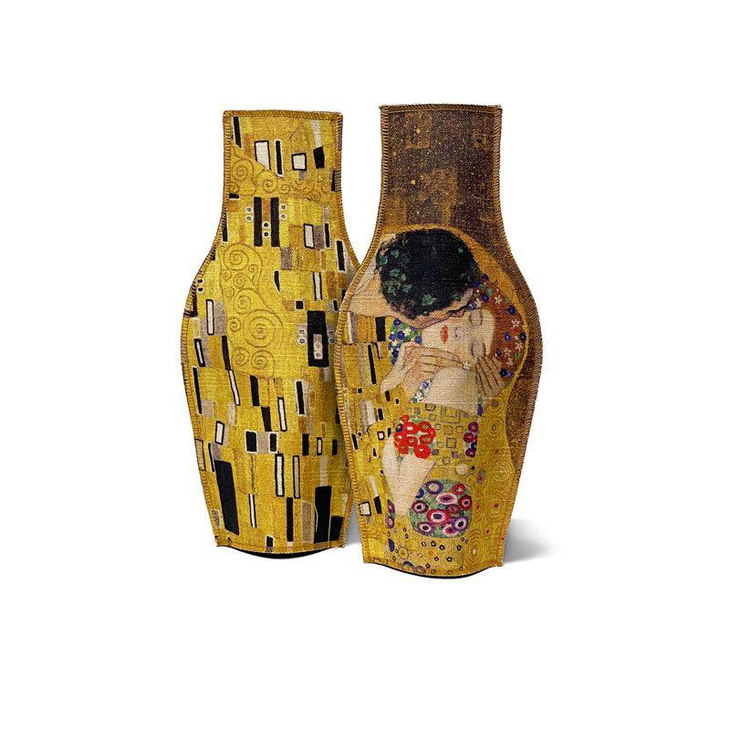 Dues cares del gerro decoratiu de tela inspirat en El Petó de Klimt