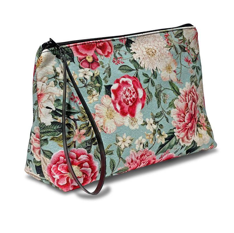 Estuche de tela tamaño 28 x 18 x 9 cm. Diseño floral.