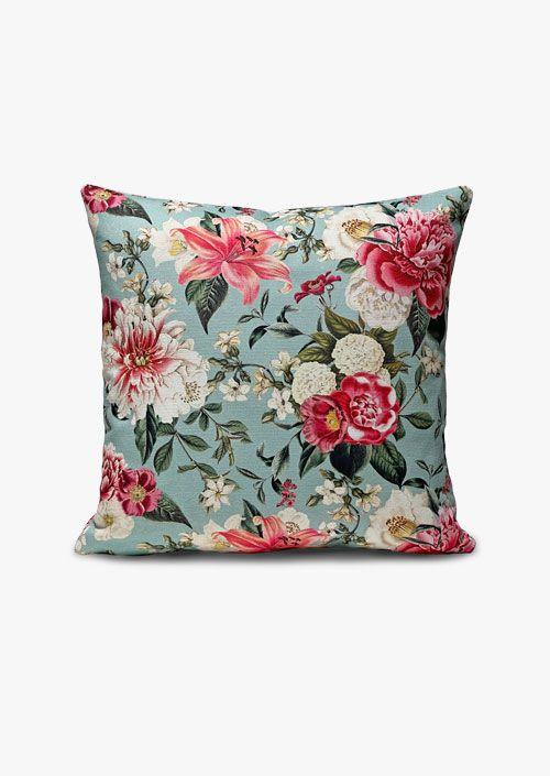 Funda de cojín decorativo tela de algodón, diseño floral