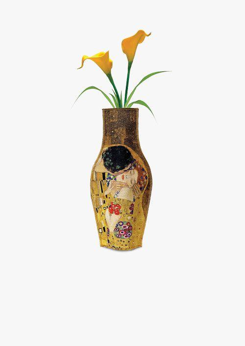 Jarrón decorativo inspirado en la obra El Beso de Gustav Klimt