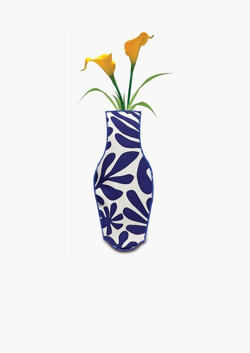 Jarrón decorativo de tela de algodón, diseño de formas orgánicas en azul cobalto y blanco