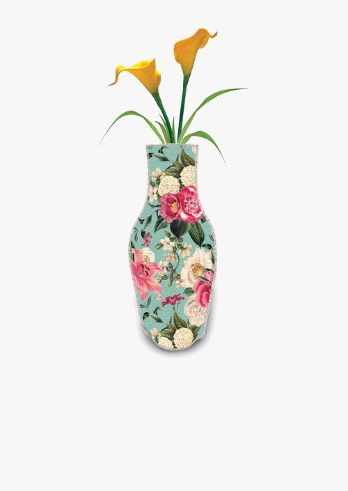 Jarrón decorativo de tela de algodón, colorido diseño de flores