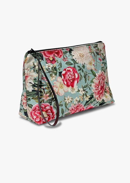 Neceser de algodón, diseño floral vintage