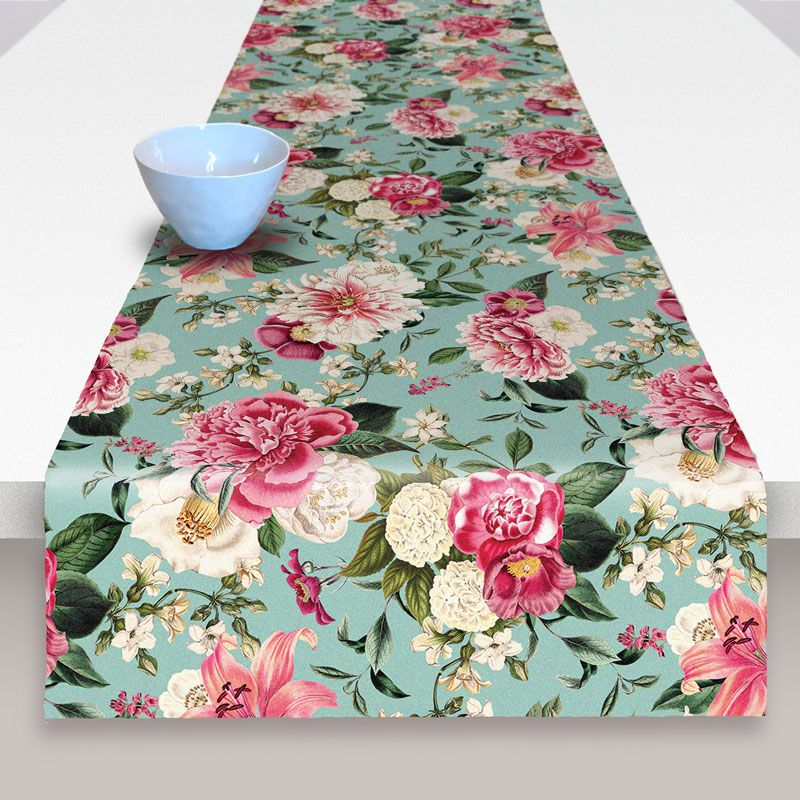 Table runner, cotton fabric and vintage floral design