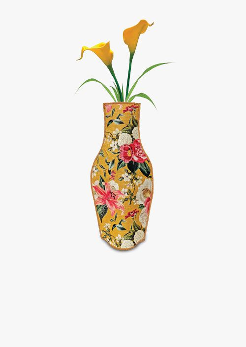 Decorative fabric vase with vintage floral pattern